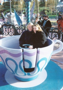 Helen & Angela riding the tea cups