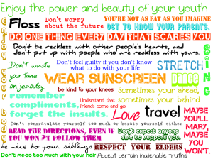wear sunscreen colourful lyrics