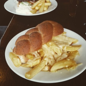 Starting our Newcastle walking tour with some hearty sandwiches